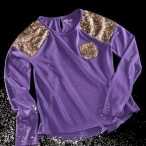 Size L Epic Threads Sequin Purple Long Sleeve Top